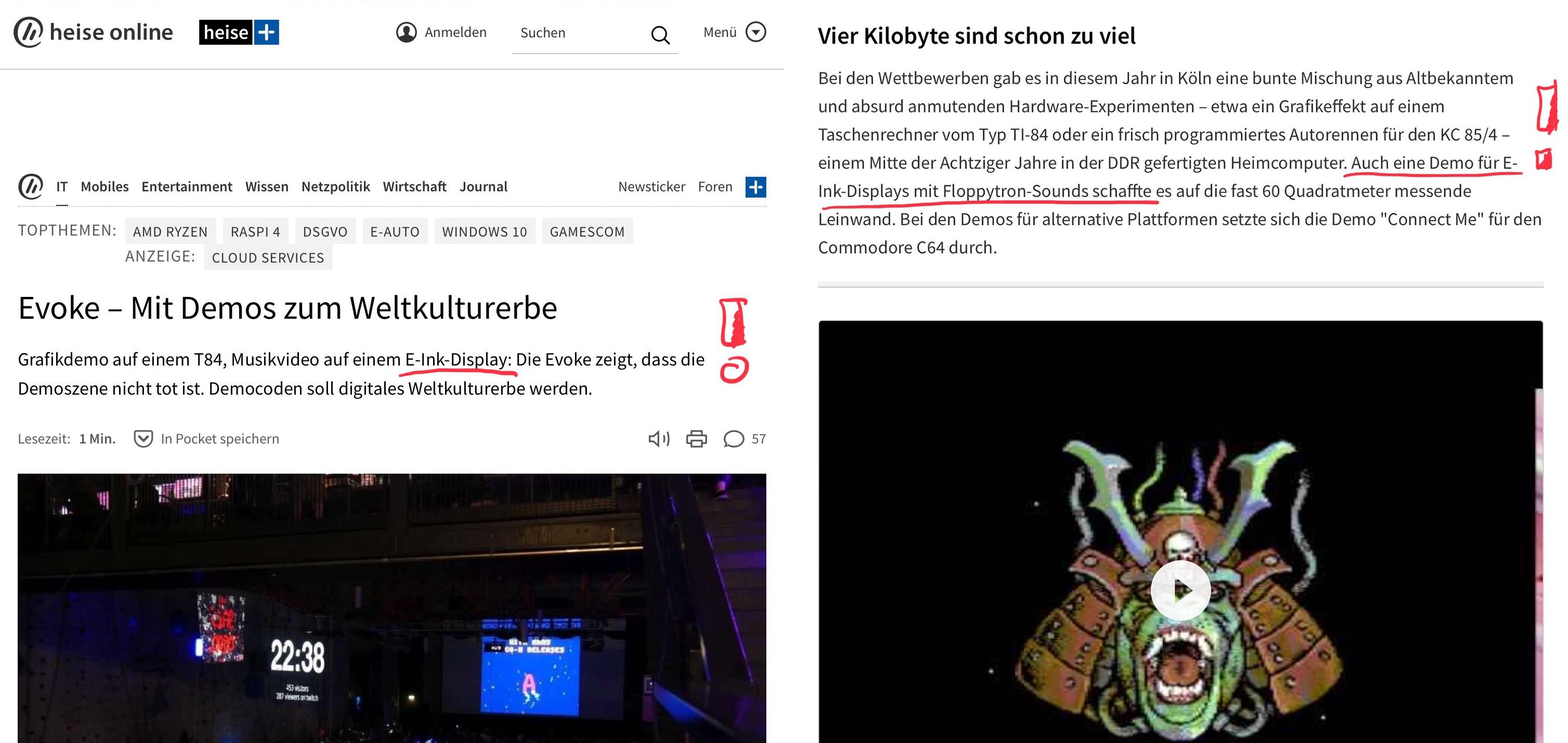 Screenshot vom Heise Artikel